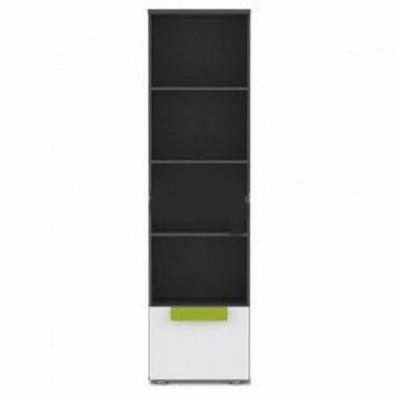 Regál Libelle 4P1S - šedý mat/bílá/limetka
