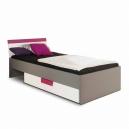 Dětská postel Polo s šuplíkem  - šedá/bílá/fialová