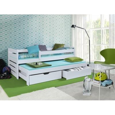 Dětská postel z masivu s přistýlkou - bílá