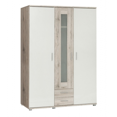 Šatní skříň Sunny - dub pískový/bílý
