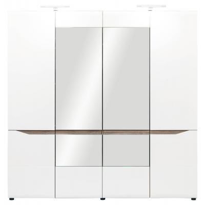Šatní skříň LAOS 4D - dub sonoma truflový/bílý lesk