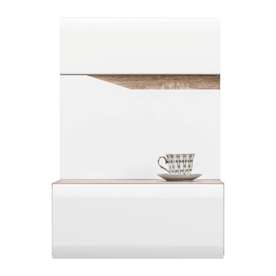 Závěsný noční stolek pravý LAOS - dub sonoma truflový/bílý lesk