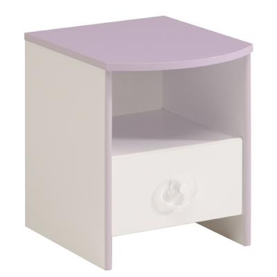 Dětský noční stolek Nisi - bílá/fialková