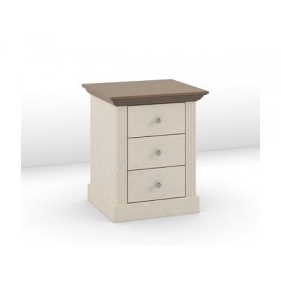 Noční stolek Moris 3S - bílá/ hnědá